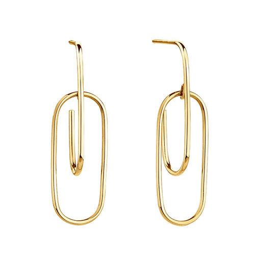 Double Oval Hoop Earrings In 10ct Yellow Gold