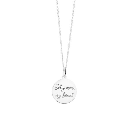 Engraved Circle Pendant in Sterling Silver