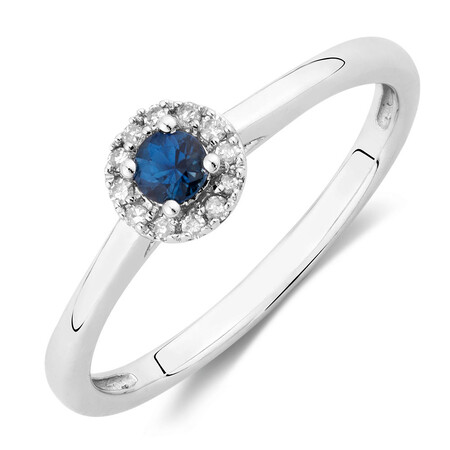 Promise Ring with Sapphire & Diamonds in 10ct White Gold