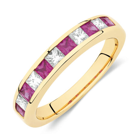 Ring with 0.37 Carat TW of Diamonds & Ruby in 10ct Yellow Gold