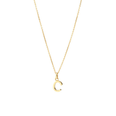 """""""C"""" Initial Pendant with Chain in 10ct Yellow Gold"""