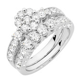 Online Exclusive - Bridal Set with 1 3/4 Carat TW of Diamonds in 14ct White Gold