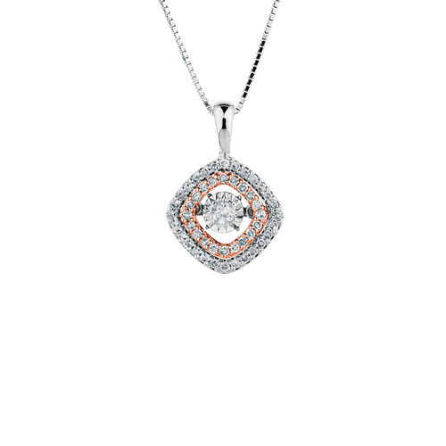 Everlight Pendant with 1/4 Carat TW of Diamonds in 10ct White & Rose Gold