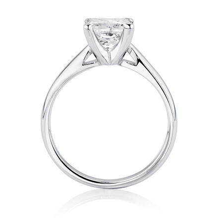 Solitaire Engagement Ring with 1 1/2 Carat Diamond in 14ct White Gold
