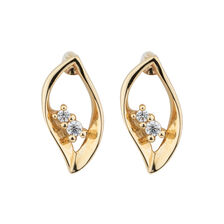 Leaf Earrings with Cubic Zirconia in 10ct Yellow Gold