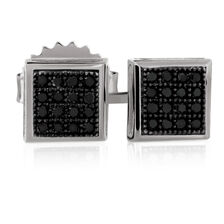 Stud Earrings with Enhanced Black Diamonds in Sterling Silver