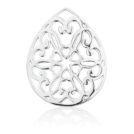 Heart Patterned Coin Locket Insert in Sterling Silver