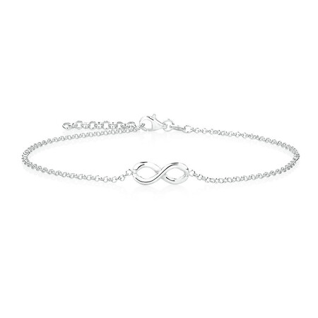 """26cm (10.5"""") Infinity Anklet in Sterling Silver"""