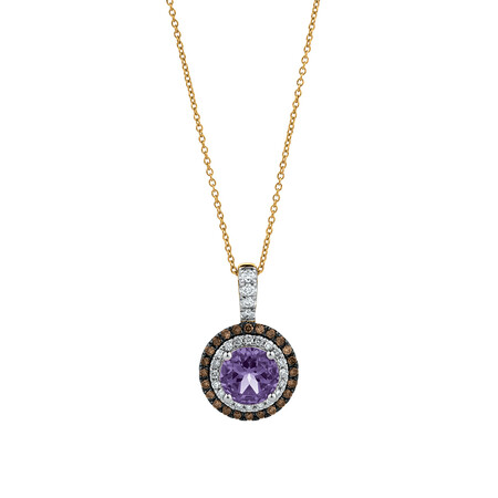 Pendant with Amethyst & 0.35 Carat TW of Diamonds in 14ct Yellow, White & Rose Gold