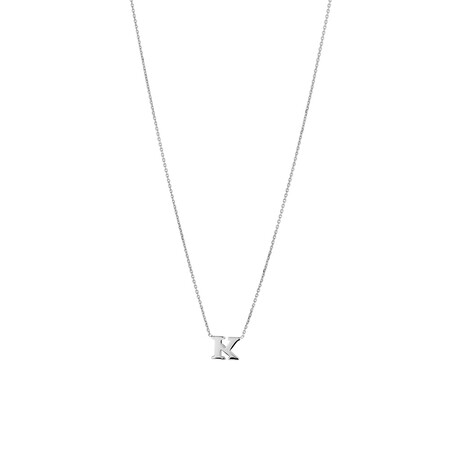 'K' Initial Necklace in Sterling Silver