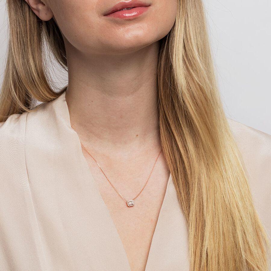 Rectangular Diamond Pendant with 0.15 Carat TW of Diamonds in 10ct Rose Gold