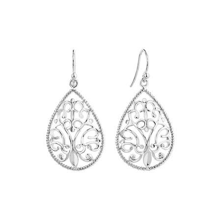Filigree Teardrop Earrings In Sterling Silver