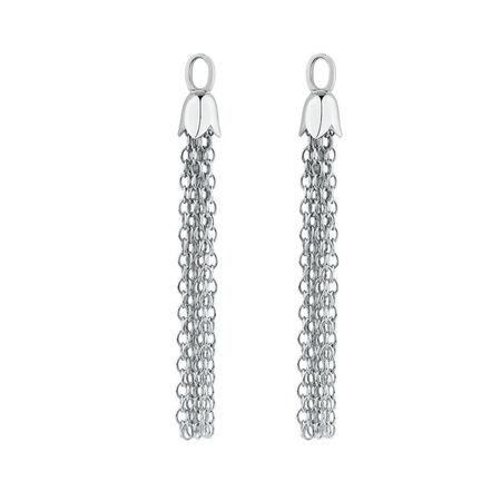 Stud Earrings & Tassel Earring Enhancer Set with Cubic Zirconia in Sterling Silver