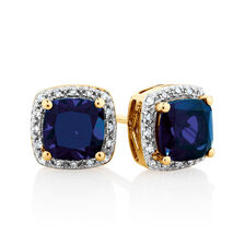 Earrings with Created Sapphire & Diamonds in 10ct Yellow Gold