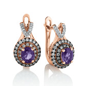 Stud Earrings with 0.42 Carat TW of White & Brown Diamonds & Amethyst in 10ct Rose Gold