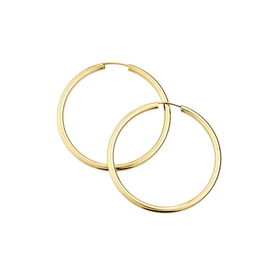 35mm Flexible Clasp Hoop Earrings in 10ct Yellow Gold