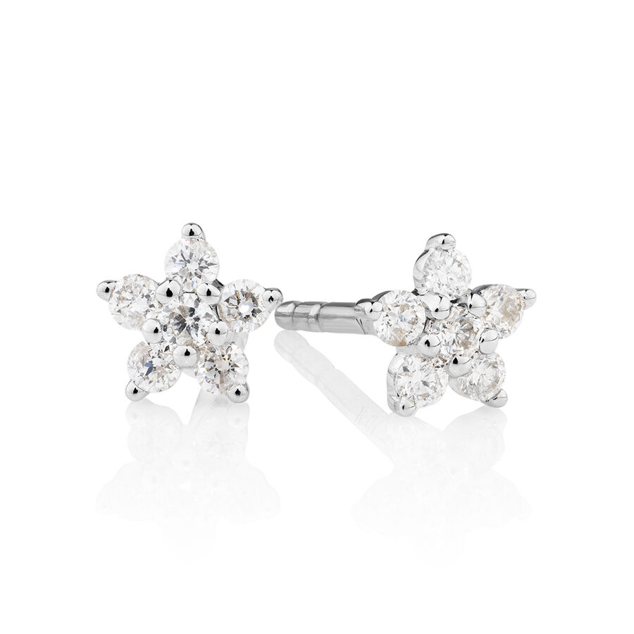Star Stud Earrings with 0.16 Carat TW of Diamonds in 10ct White Gold