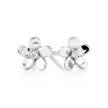Flower Stud Earrings with Cubic Zirconia in Sterling Silver