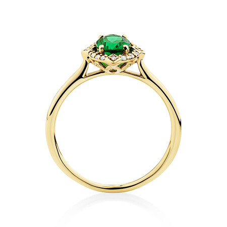 Halo Ring With Created Emerald & Diamonds in 10ct Yellow Gold