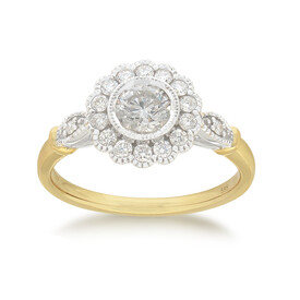 Flower Ring with 0.70 Carat TW of Diamonds in 14ct Yellow & White Gold