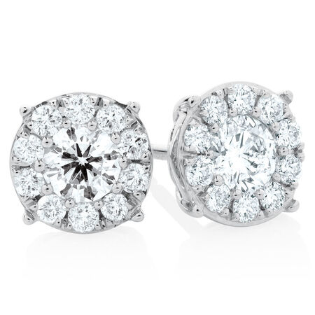 Halo Stud Earrings with 1  Carat TW of Diamonds in 10ct White Gold