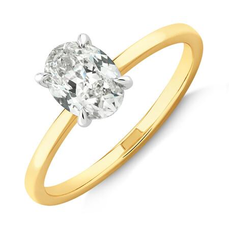 Southern Star Oval Solitaire Engagement Ring with 1 Carat TW of Diamond in 18ct Yellow & White Gold