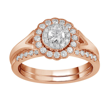 Bridal Set with 0.60 Carat TW of Diamonds in 14ct Rose & White Gold