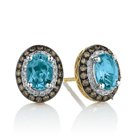 Stud Earrings with 0.50 Carat TW of White & Brown Diamonds & Blue Topaz in 10ct Yellow Gold