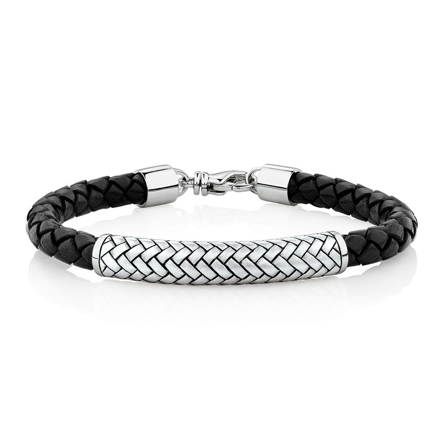 Patterned Bracelet In Black Leather & Sterling Silver