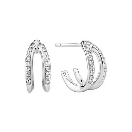Mark Hill Wishbone Earrings with 0.16 Carat TW of Diamonds in Sterling Silver