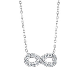 Infinity Necklace With Diamonds In Sterling Silver