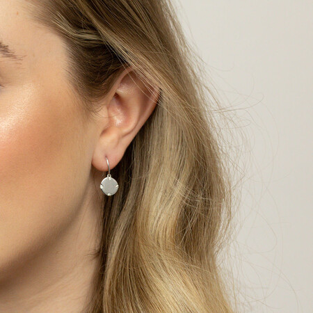 Compass Earrings with Diamonds in Sterling Silver