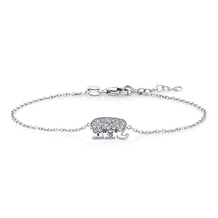 Elephant Bracelet with Cubic Zirconias in Sterling Silver