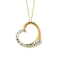 Heart Pendant in 10ct Yellow & White Gold