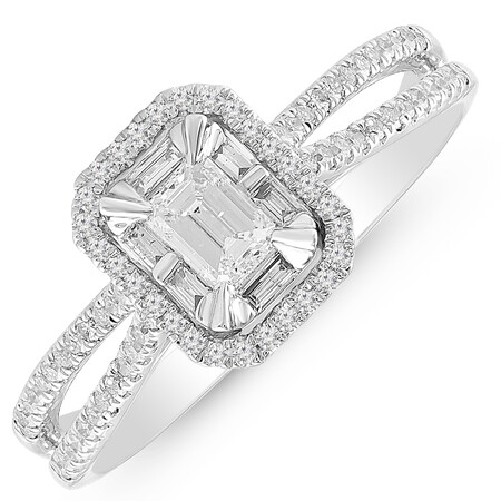 Ring with 0.70 Carat TW of Diamonds in 14ct White Gold