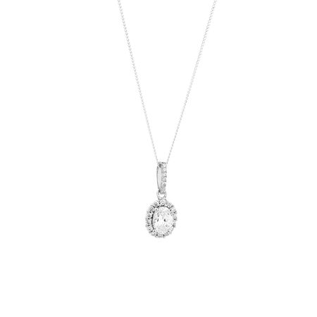 Oval Pendant with White Cubic Zirconia in Sterling Silver