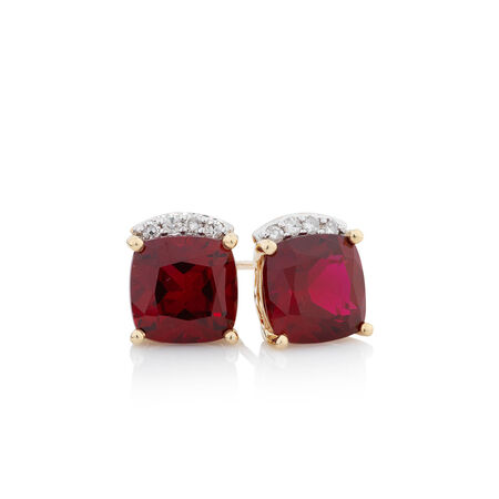 Online Exclusive - Stud Earrings with Diamonds & Created Ruby in 10ct Yellow Gold