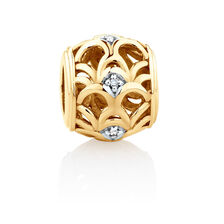 Diamond Set Art Deco Charm in 10ct Yellow Gold