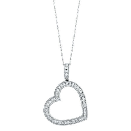 Heart Pendant with 0.35 Carat TW of Diamonds in 10ct White Gold