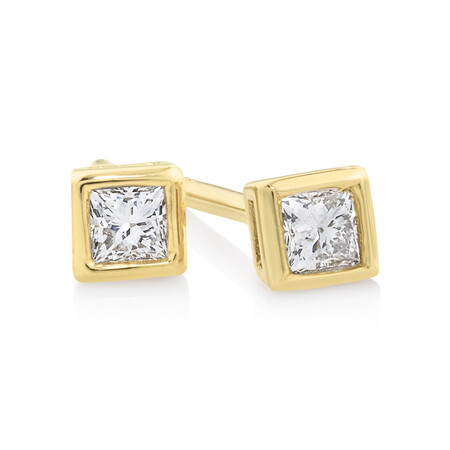 Princess Cut Stud Earrings with 0.14 Carat TW of Diamonds in 10ct Yellow Gold