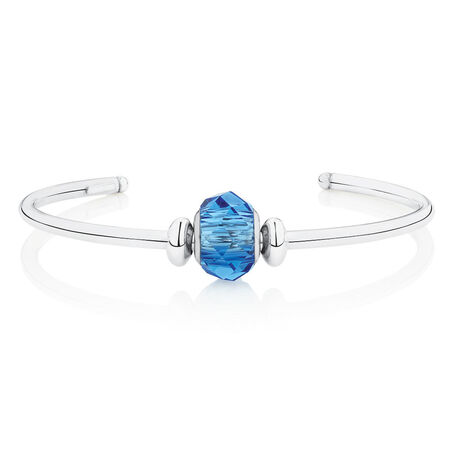 Cuff Bangle with Blue Crystal in Sterling Silver