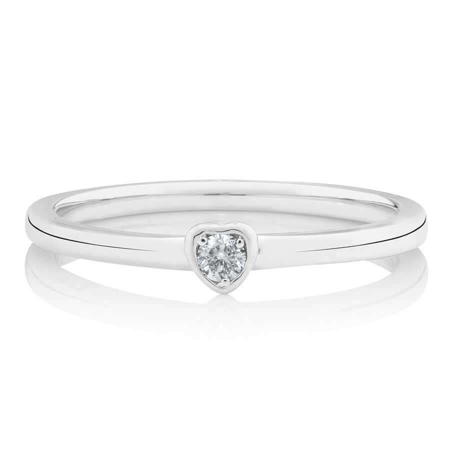 Heart Stacker Ring with Diamonds in Sterling Silver