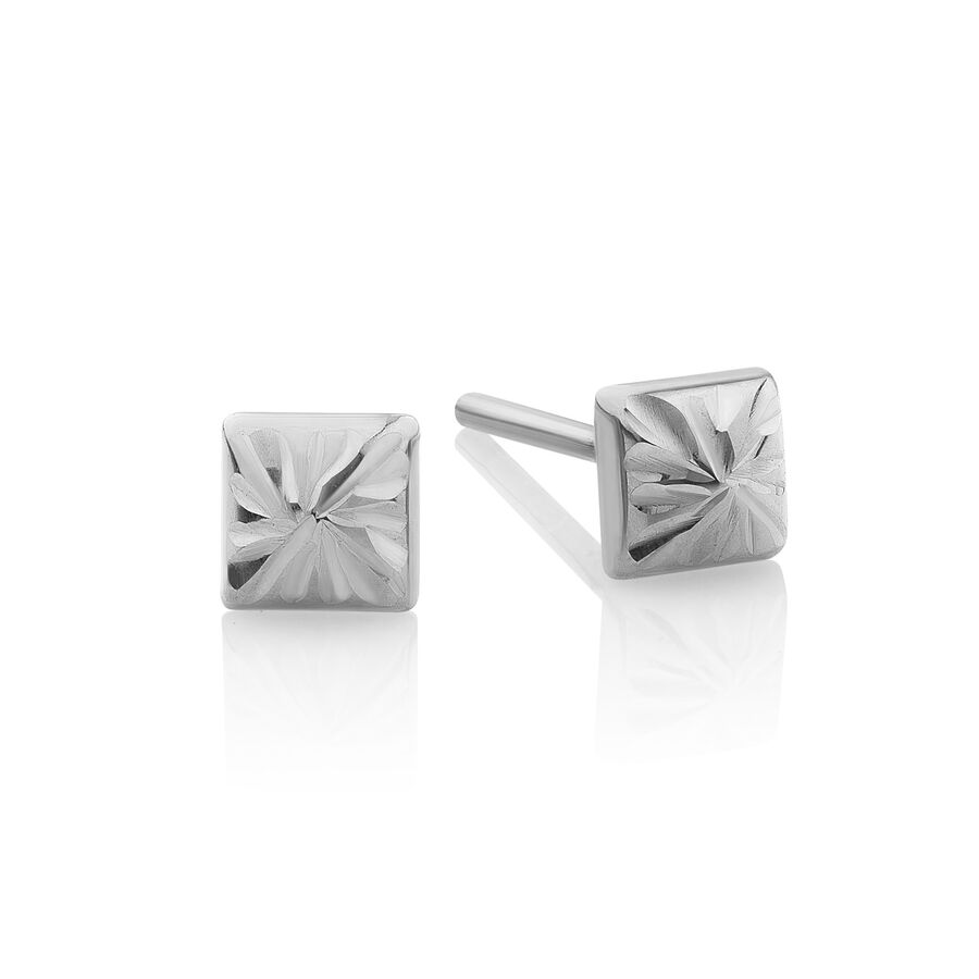 Pyramid Stud Earrings in 10ct White Gold
