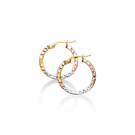 Flat Hoop Earrings in 10ct Yellow, White & Rose Gold
