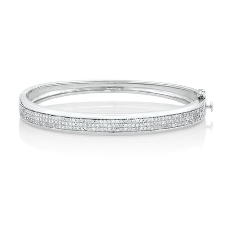 Bangle with Pave Cubic Zirconia in Sterling Silver