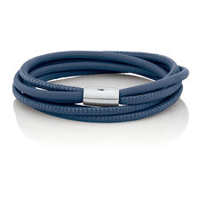 "38cm (15"") Double Wrap Multi-Strand Bracelet in Blue Leather & Stainless Steel"