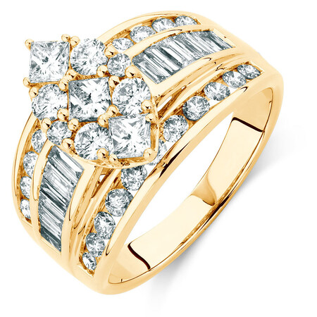 Diamond Ring with 1.95 Carat TW of Diamonds in 14ct Yellow Gold