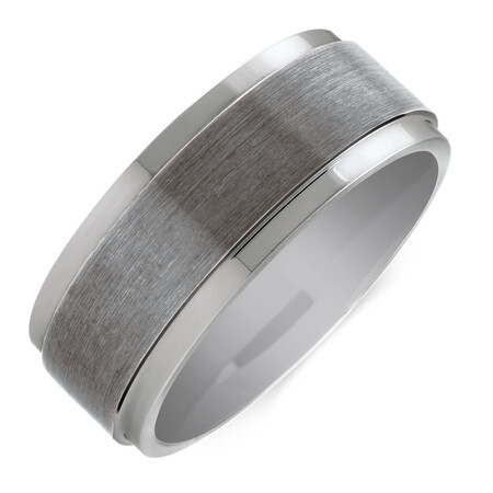 9mm Men's Ring in Grey Tungsten