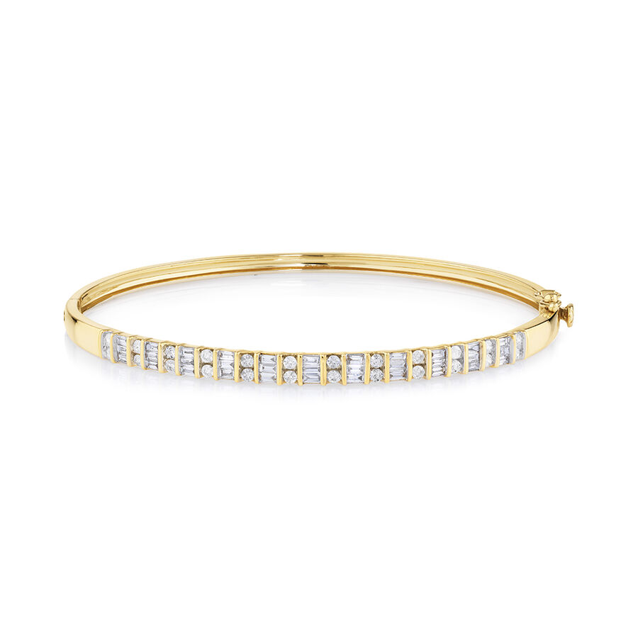 Bangle with 1 Carat TW of Diamonds in 10ct Yellow Gold