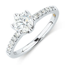Whitefire Solitaire Engagement Ring With 1.18 Carat TW of Diamonds in 18ct White & 22ct Yellow Gold